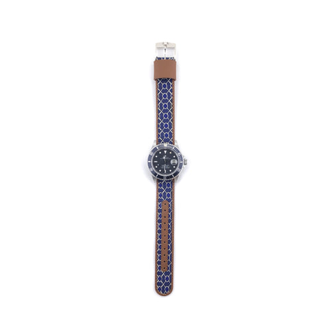 MILITARY INSPIRED WATCH STRAP-NAVY, SILVER CHAIMAIL