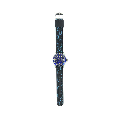 MILITARY INSPIRED WATCH STRAP-BLACK, BLUE HORSESHOES