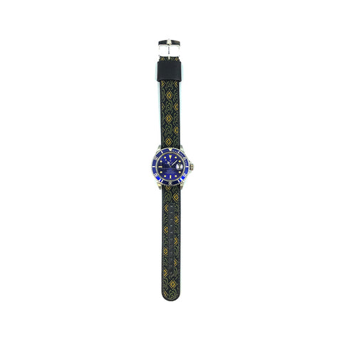 MILITARY INSPIRED WATCH STRAP-BLACK, GOLD SQUARES