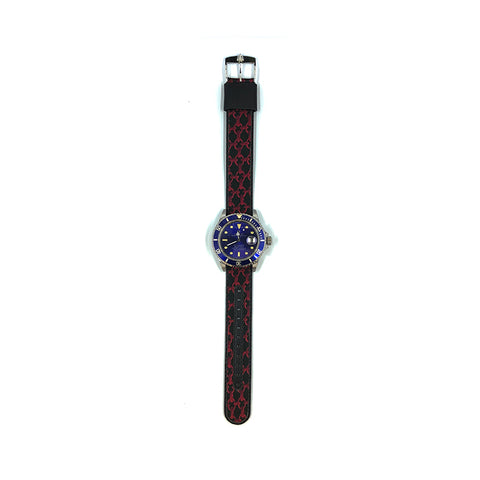 MILITARY INSPIRED WATCH STRAP-BLACK, RED CHAINMAIL