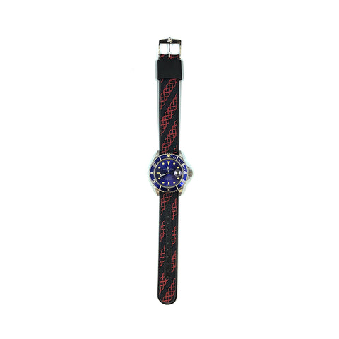 MILITARY INSPIRED WATCH STRAP-BLACK, RED DIAGONAL CHAINMAIL