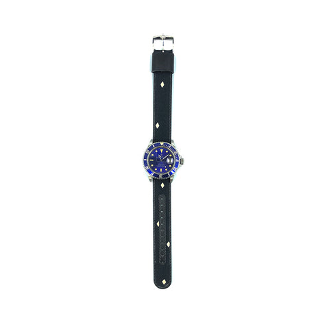 MILITARY INSPIRED WATCH STRAP-BLACK, WHITE DIAMONDS