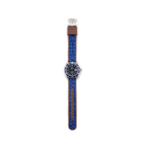 MILITARY INSPIRED WATCH STRAP-BLUE, LIGHT BLUE PAISLEY
