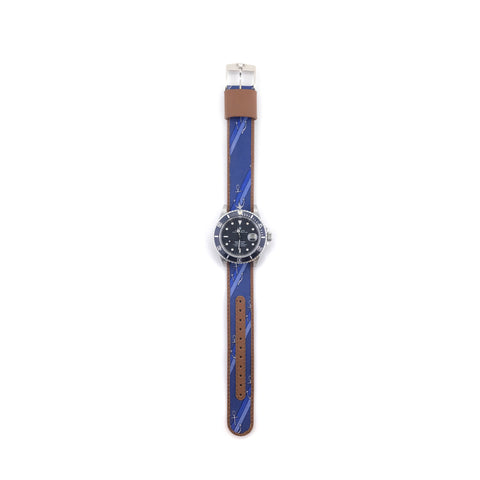 MILITARY INSPIRED WATCH STRAP- BLUE, ANCHORS AND STRIPES