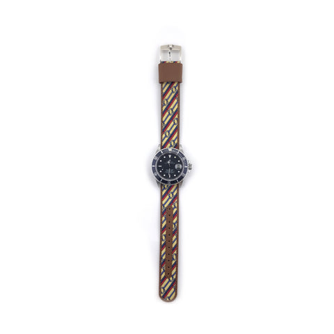 MILITARY INSPIRED WATCH STRAP- LIGHT YELLOW, RED AND BLUE STRIPS