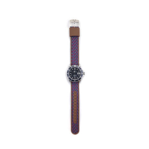 MILITARY INSPIRED WATCH STRAP- MAROON, SILVER STIRRUPS