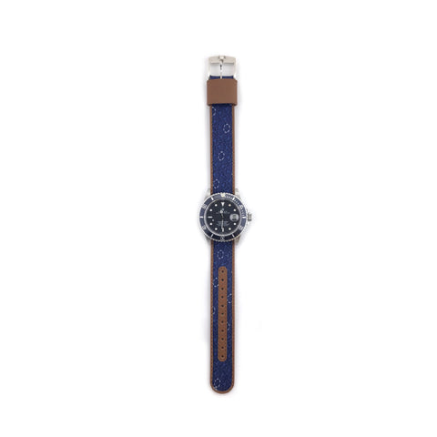 MILITARY INSPIRED WATCH STRAP-NAVY, LIGHT BLUE CIRCLE DESIGN