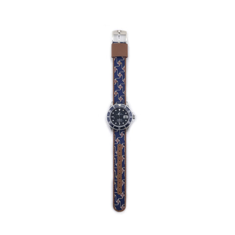MILITARY INSPIRED WATCH STRAP- NAVY, RED DISKS
