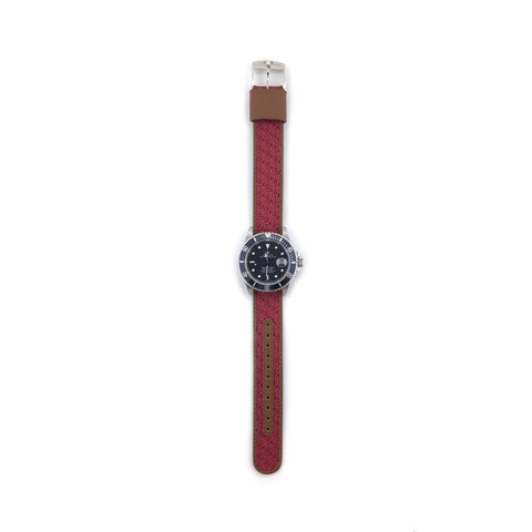 MILITARY INSPIRED WATCH STRAP-RED, CHAINMAIL