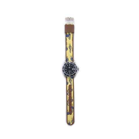 MILITARY INSPIRED WATCH STRAP-YELLOW, BROWN HORSE