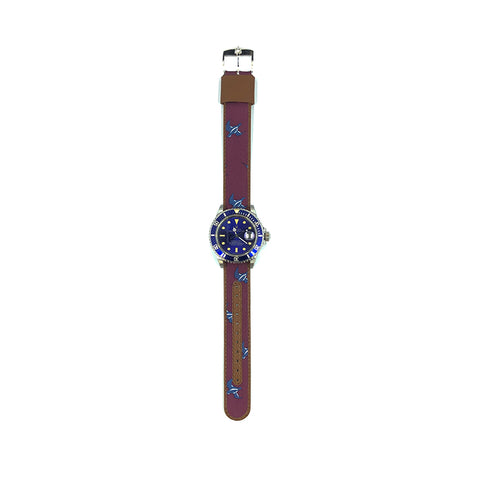 MILITARY INSPIRED WATCH STRAP-PURPLE, BLUEBIRDS