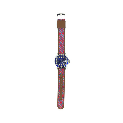MILITARY INSPIRED WATCH STRAP-RED, BLUE CHAINMAIL