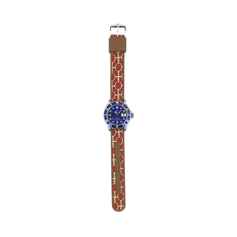 MILITARY INSPIRED WATCH STRAP-RED, GOLD STIRRUPS