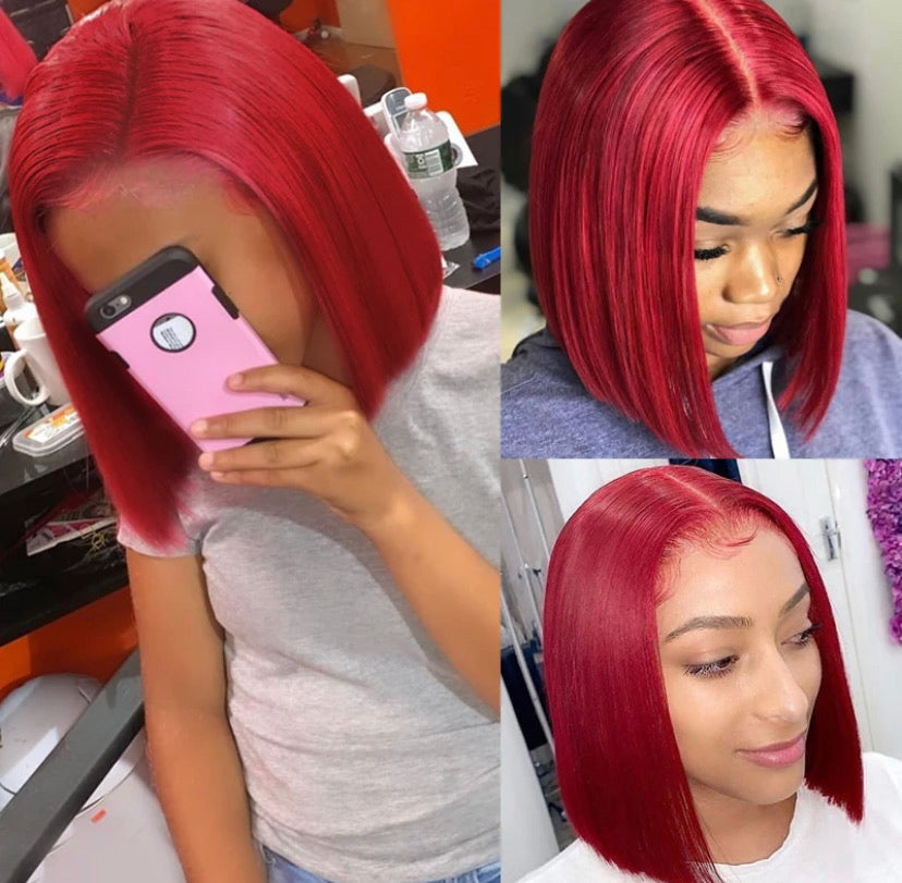 "Brazilian Straight Bob Unit "" Deep Red"""