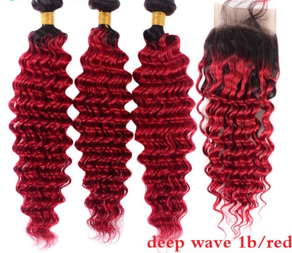 Brazilian Deep Wave Ombre Red