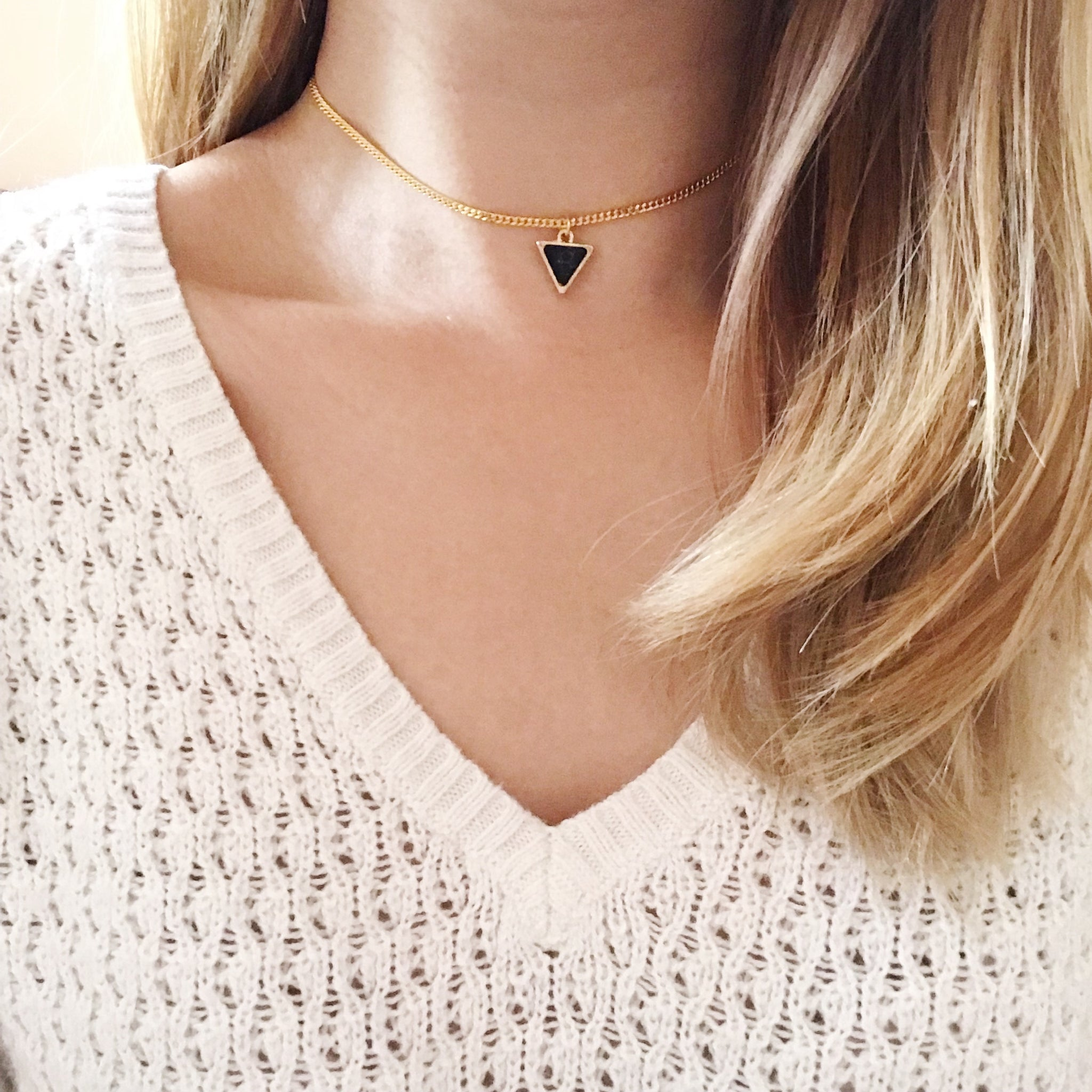 Marble Triangle Chain Choker