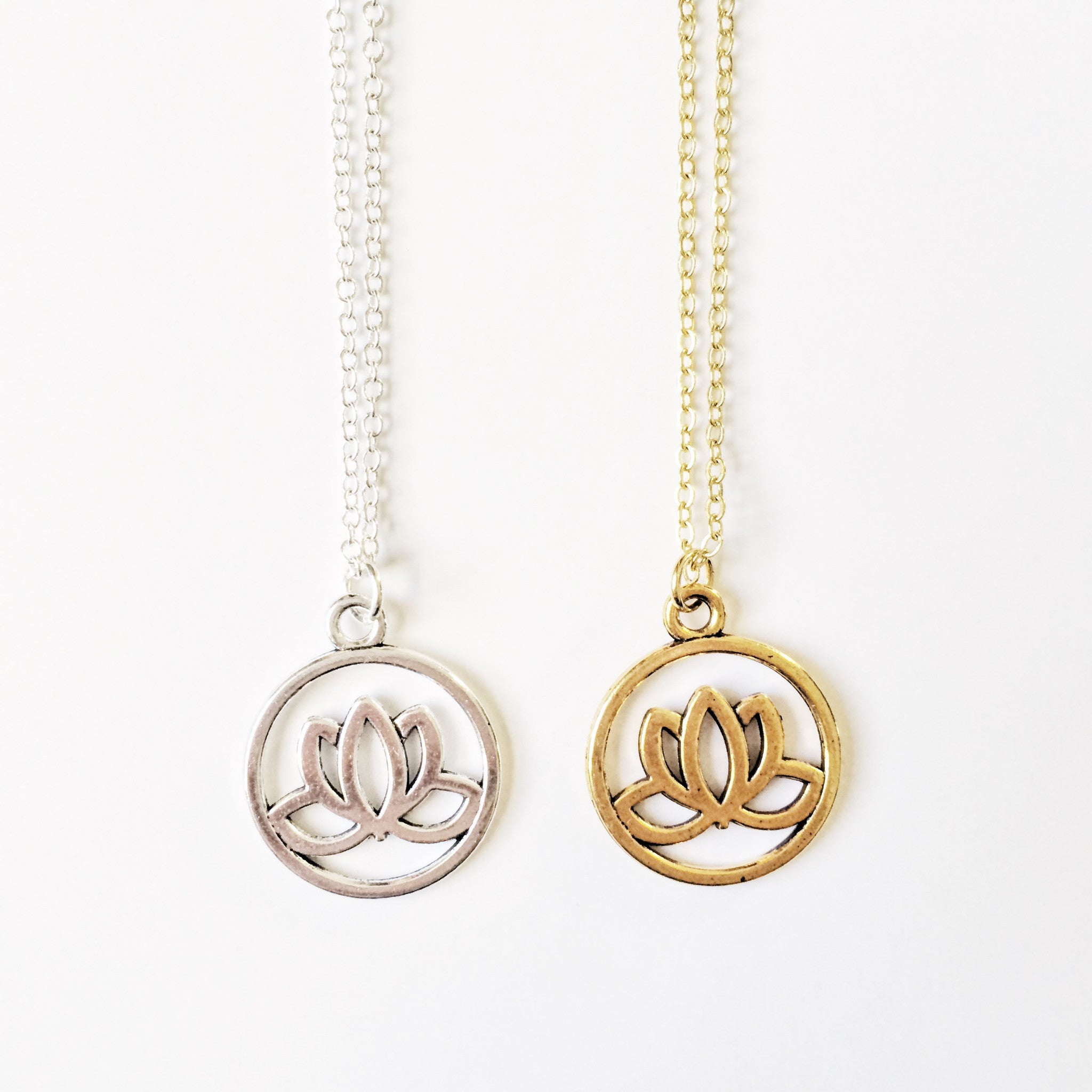 pendent gold charm solid pin small lotus flower yoga necklace