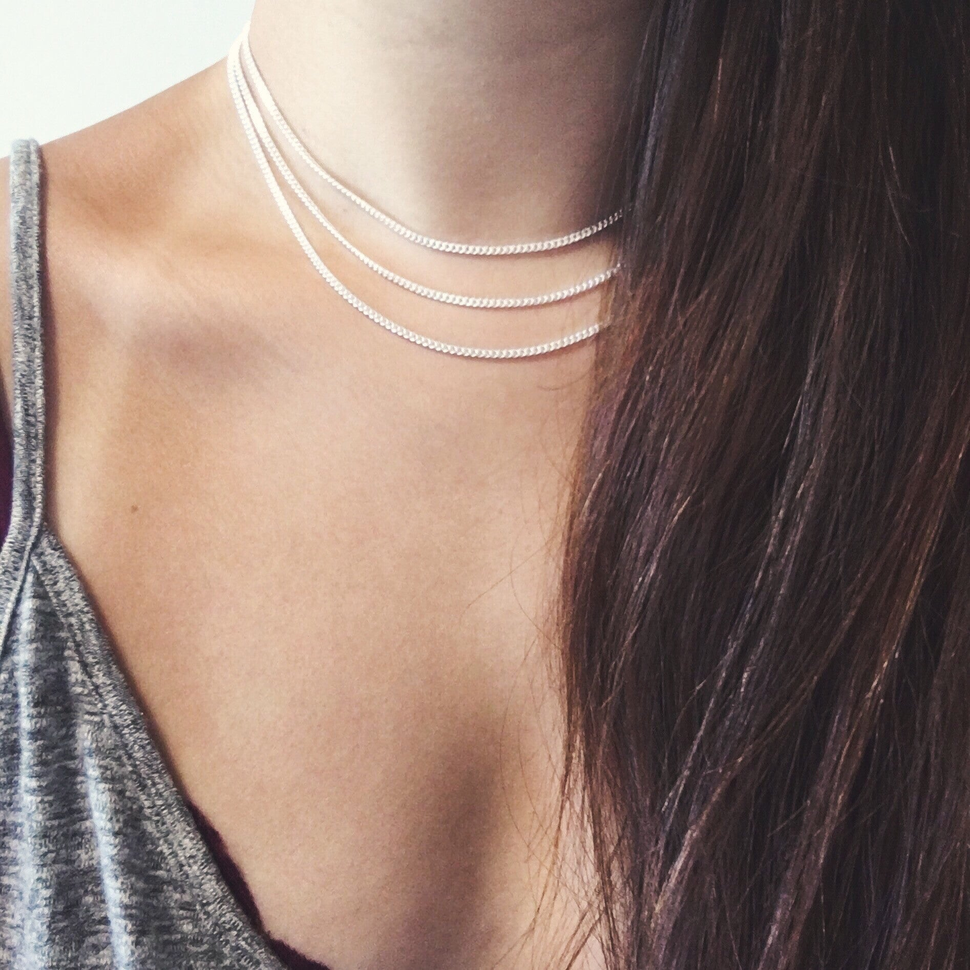 Triple Layer Chain Choker - Silver