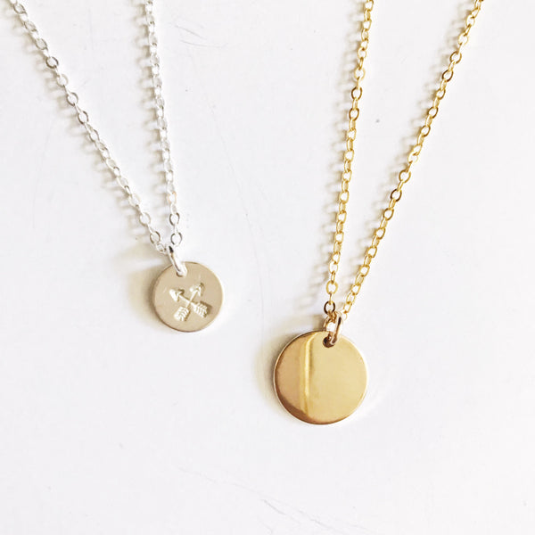 Crossed Arrow Disc Necklace