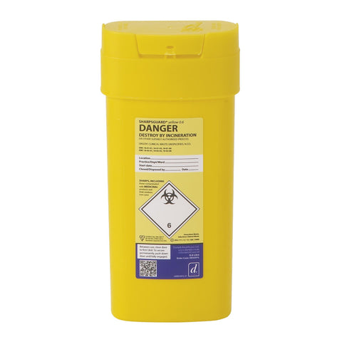 Sharpsguard Yellow 0.6L Sharps Bin - SINGLE NEEDLE TATTOO