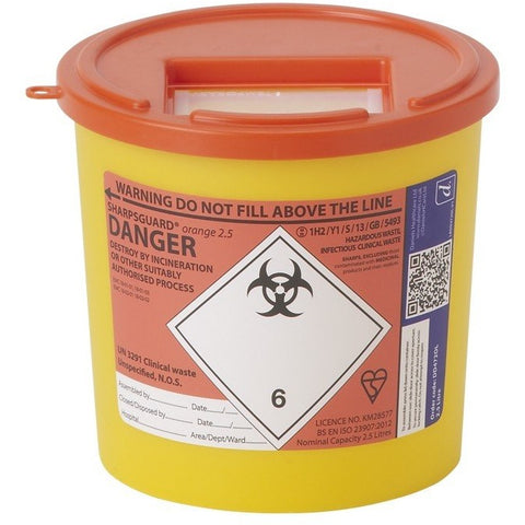 Single Needle Orange 2.5 Ltr Sharps Bin - SINGLE NEEDLE TATTOO