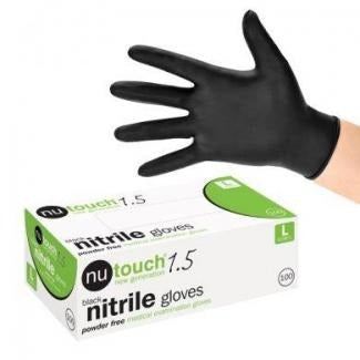 NuTouch Black 1.5 Nitrile Powder Free Disposable Gloves - SINGLE NEEDLE TATTOO