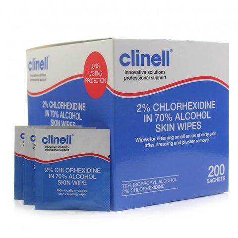Clinell 2% Chlorhexidine 4% Alcohol Wipes - SINGLE NEEDLE TATTOO
