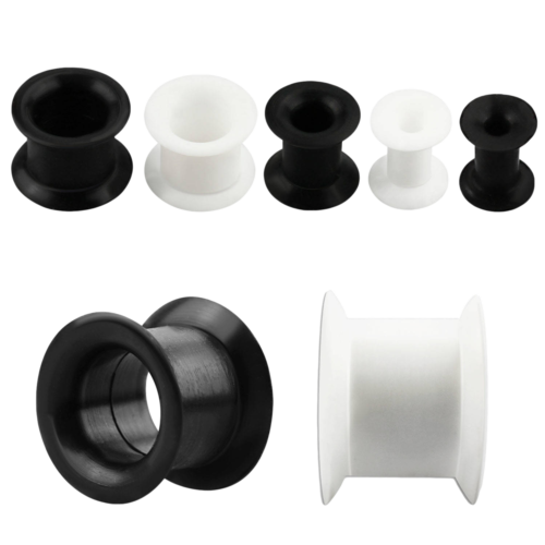 Pair Of Black Silicone SuperFlex Ear Tunnels
