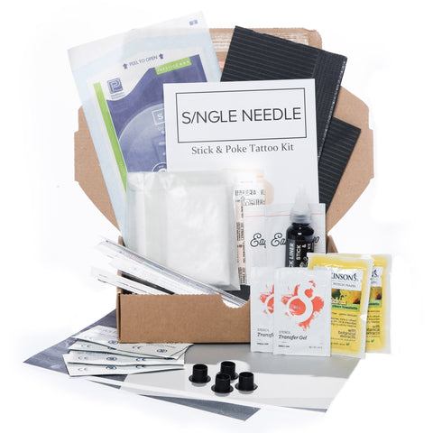 Hand Poke Tattoo Kit - Double-Tattoo Complete Kits-Single Needle-Small-None-SINGLE NEEDLE Stick & Poke Tattoo