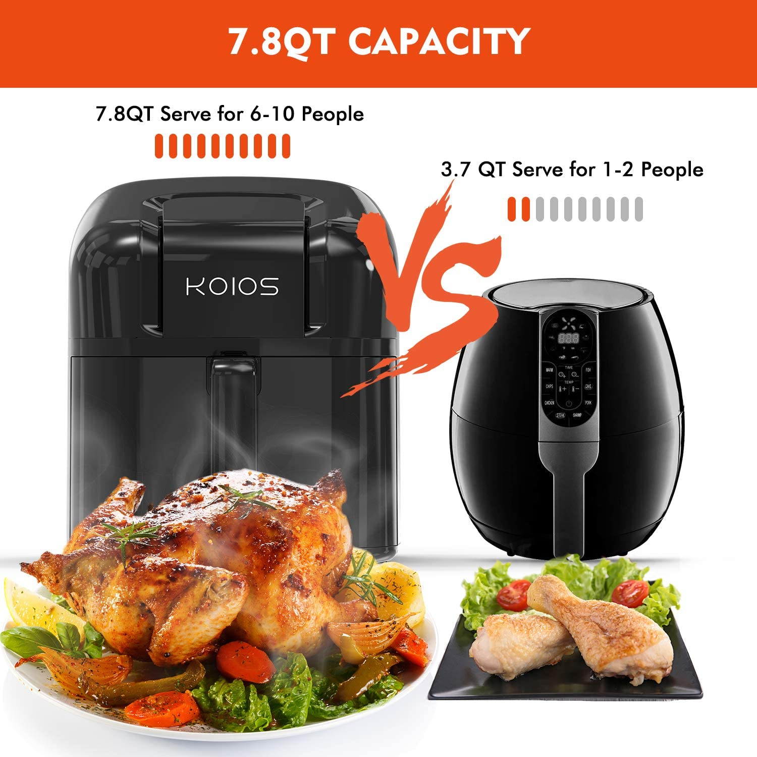 Electric Air Fryer Ergonomic Touchscreen Oil-less Air Frying Roasting Reheating