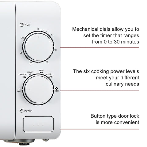 20L Conventional Microwave Oven Mechanical Knob Button Door Switch - White