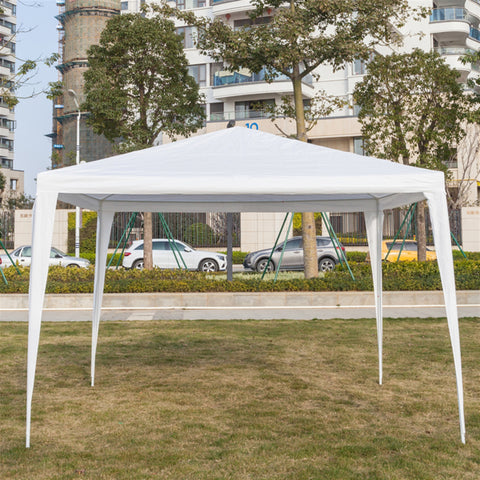 3 x 3m Three Sides Waterproof Canopy Party Tent w/ Spiral Tubes White