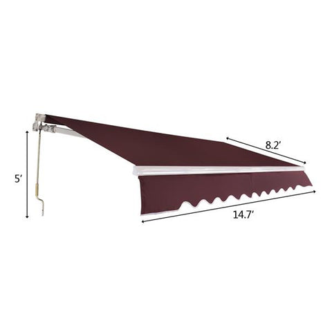 13x8 ft Retractable Awning Outdoor Sunshield Patio Canopy Wine Red
