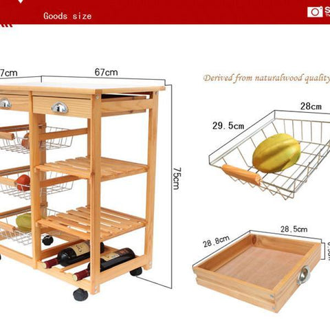 Kitchen & Dining Room Cart 2-Drawer 3-Basket 3-Shelf Storage Rack with Rolling Wheels White