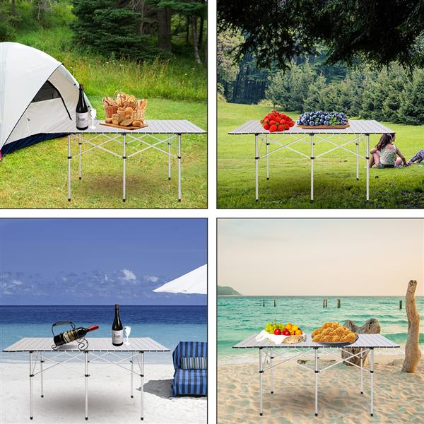 Portable Foldable Aluminum Roll-up Rectangular Picnic Camping Table w/ Carry Bag