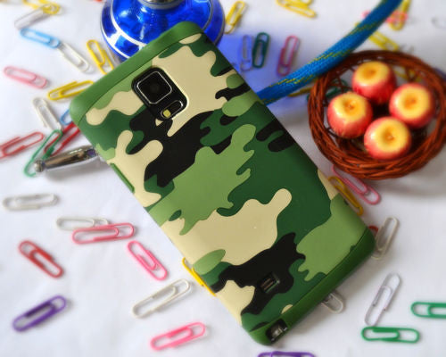 ARMY CAMOUFLAGE TOUGH HYBRID SOFT BACK COVER CASE FOR SAMSUNG GALAXY NOTE 4