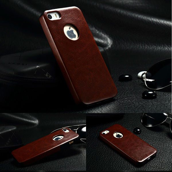 buy popular 0d4e4 aad29 LUXURY PREMIUM BROWN LEATHER BACK COVER CASE FOR IPHONE 5 /5S (APPLE)