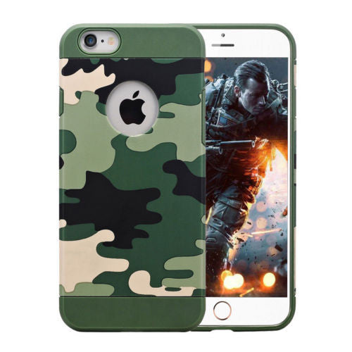 ARMY CAMOUFLAGE TOUGH HYBRID SOFT BACK COVER CASE FOR APPLE IPHONE 6S PLUS +