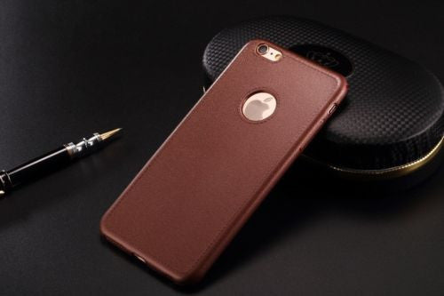 LUXURY (BROWN) LEATHER LOOK SILICONE BACK COVER CASE FOR APPLE IPHONE 6 /6S