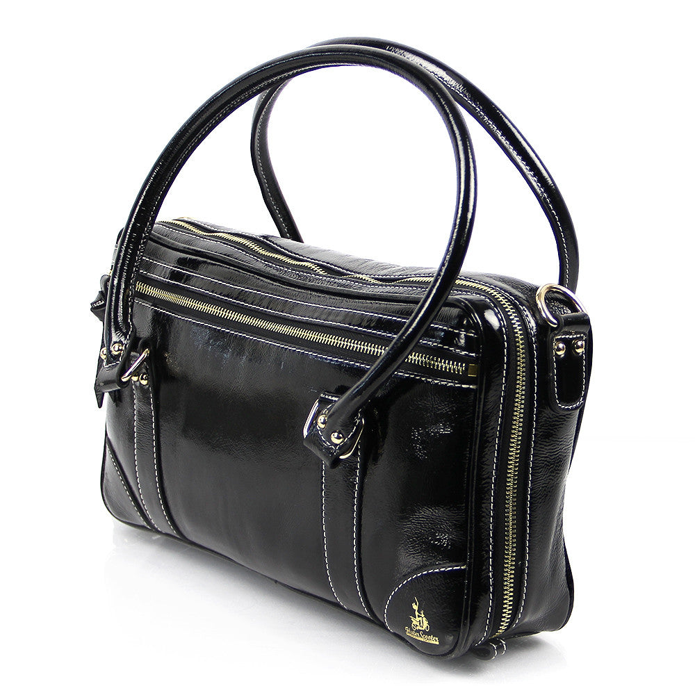 A fashion-forward patent leather finish completes the style which is part of a collection. Measures 12 wide x 15 tall and 5 deep. Our small backpack is crafted from hardwearing premium leather and is constructed in homage to traditional, vintage leather bag styles.