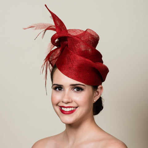 Red Sinamay Free Form Tilt Hat