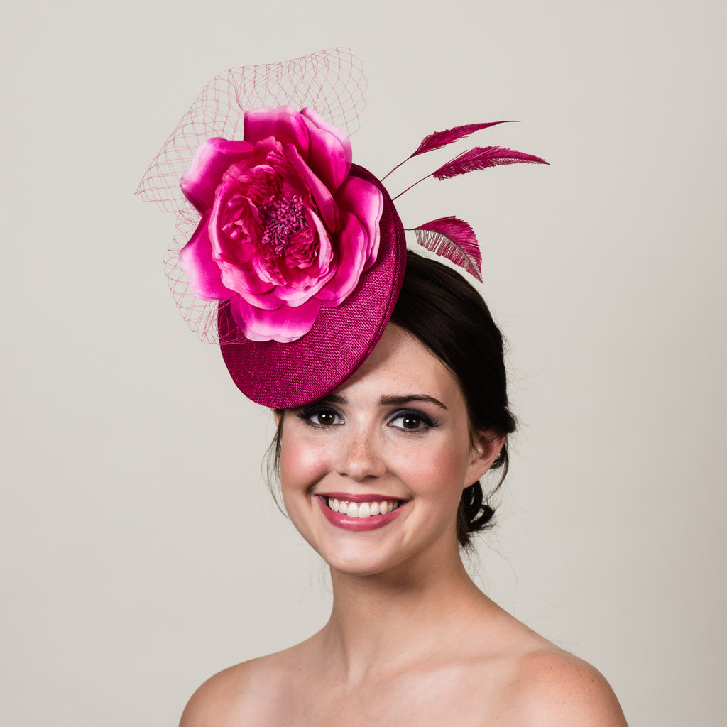 Ellie 3 magenta pink sinamay silk rose fascinator by Milli Starr