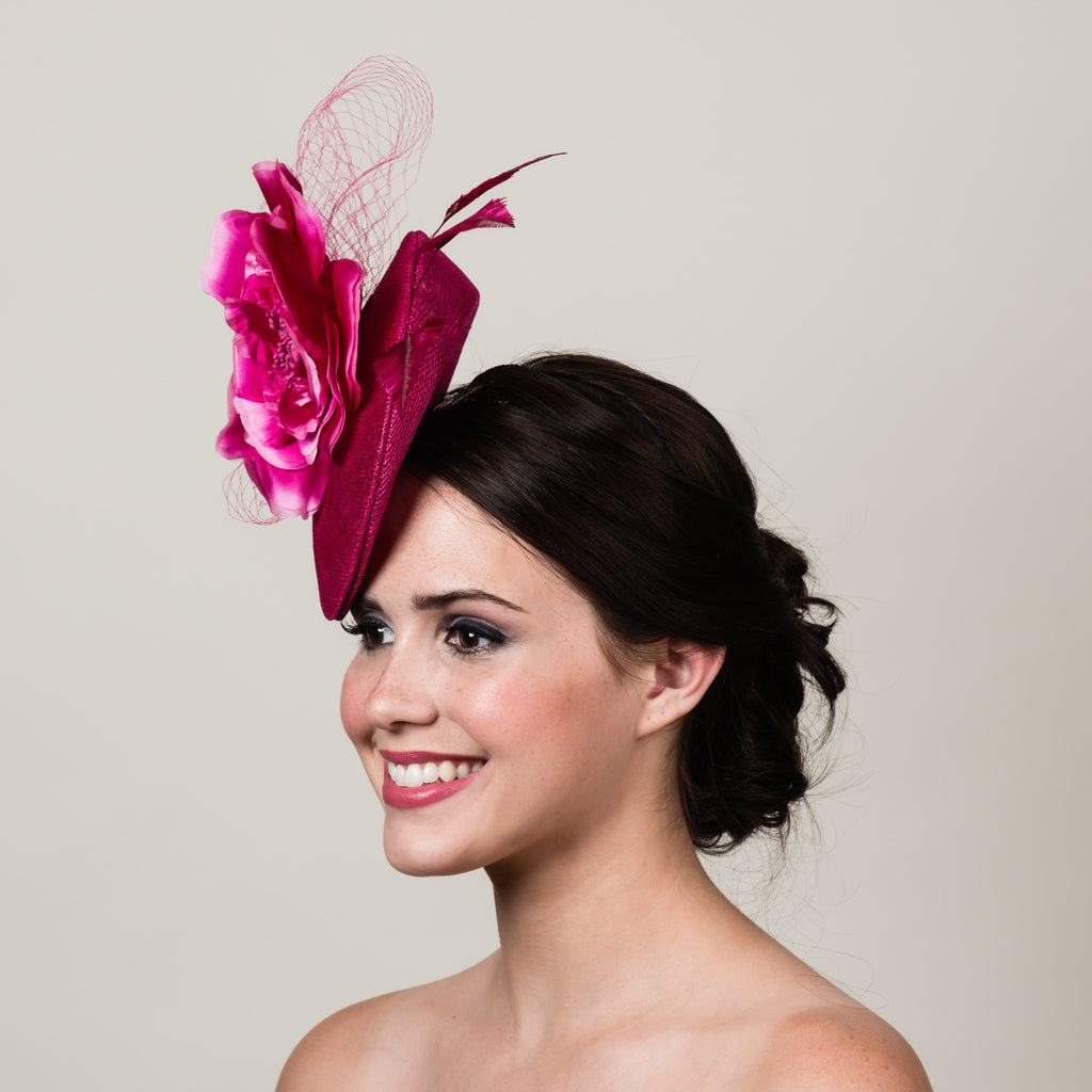 Ellie 4 magenta pink sinamay silk rose fascinator by Milli Starr