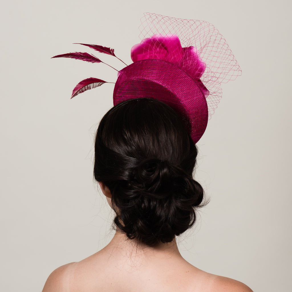 Ellie 5 magenta pink sinamay silk rose fascinator by Milli Starr
