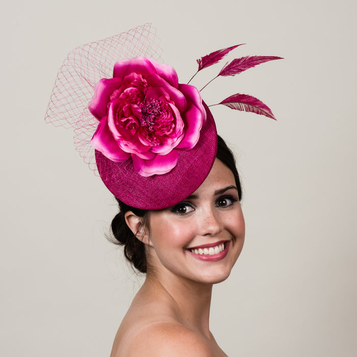 Ellie 1 magenta pink sinamay silk rose fascinator by Milli Starr