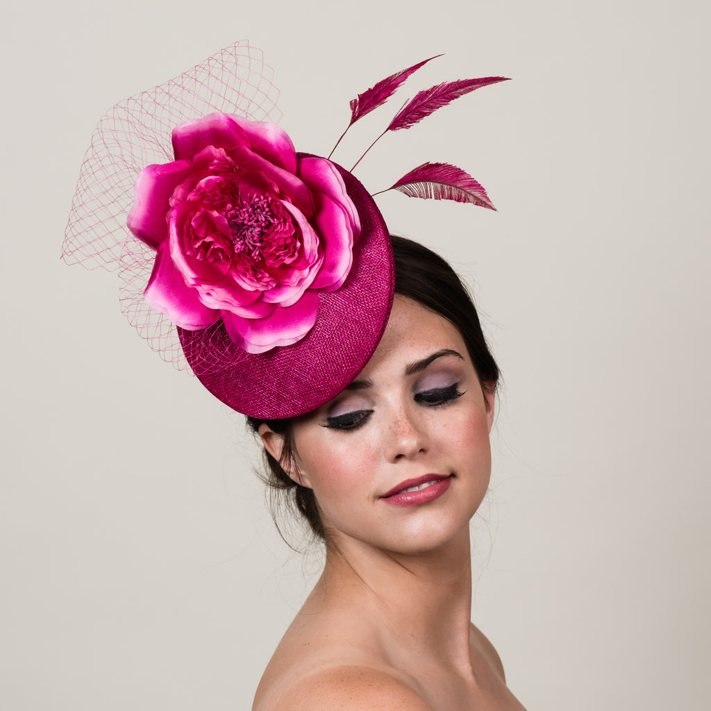 Ellie 2 magenta pink sinamay silk rose fascinator by Milli Starr