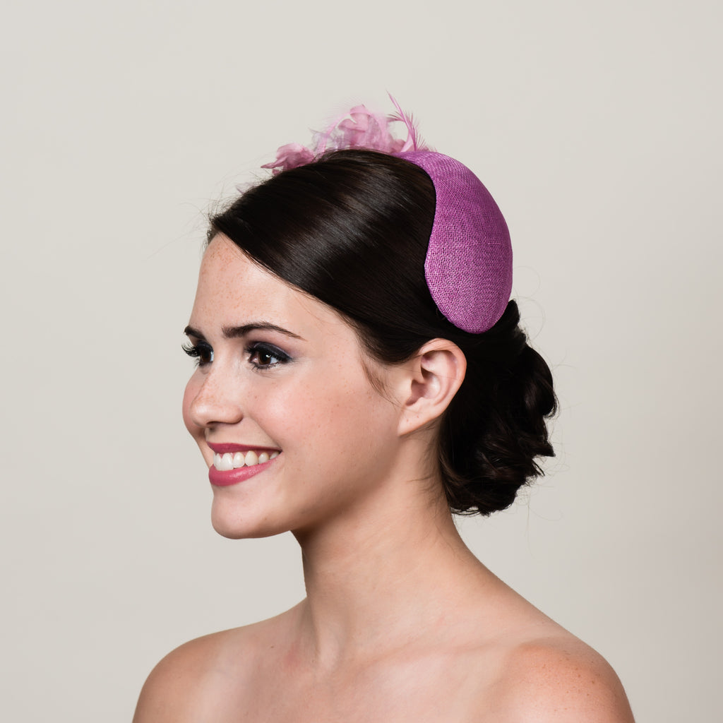 Ada 3 pink sinamay bandeau fascinator by Milli Starr