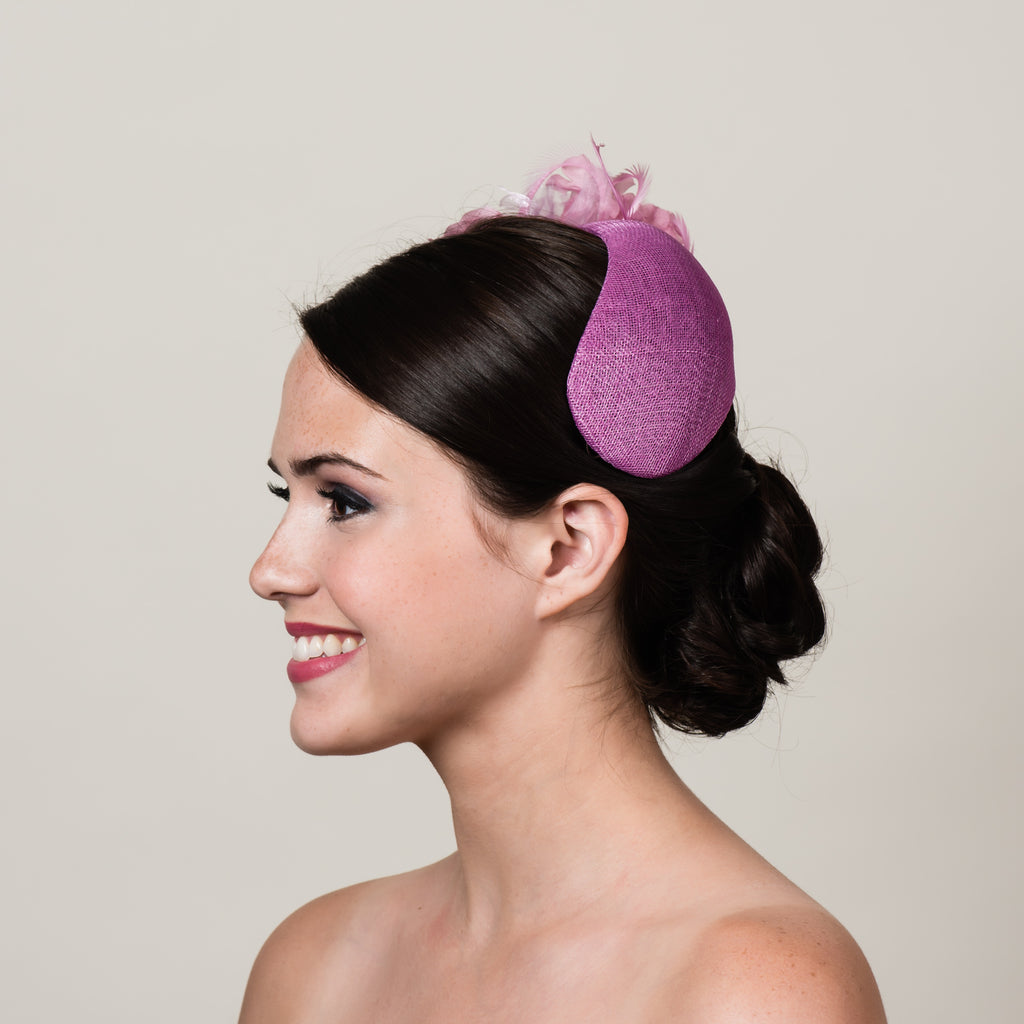 Ada 4 pink sinamay bandeau fascinator by Milli Starr