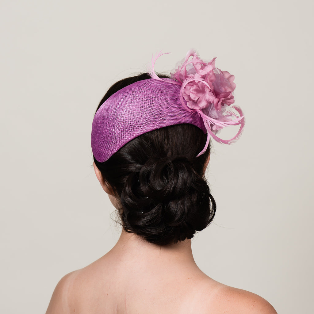 Ada 5 pink sinamay bandeau fascinator by Milli Starr