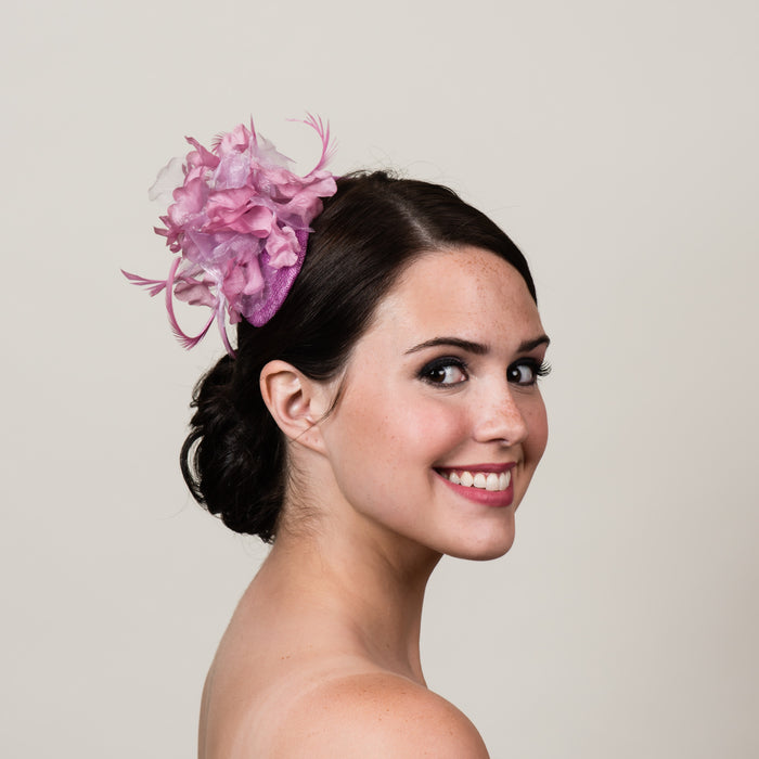 Ada 1 pink sinamay bandeau fascinator by Milli Starr